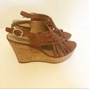 Franco Sarto Brown Leather Wedges with Cork Bottom